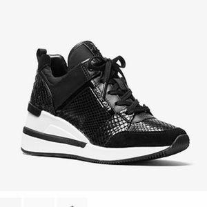 Michael Kors Black Embossed Georgie Wedge Sneakers